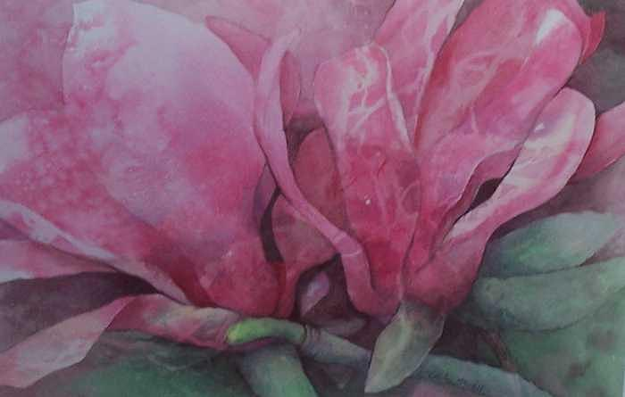 Magnolias In Pink Painting by Ruth Ann Sturgill