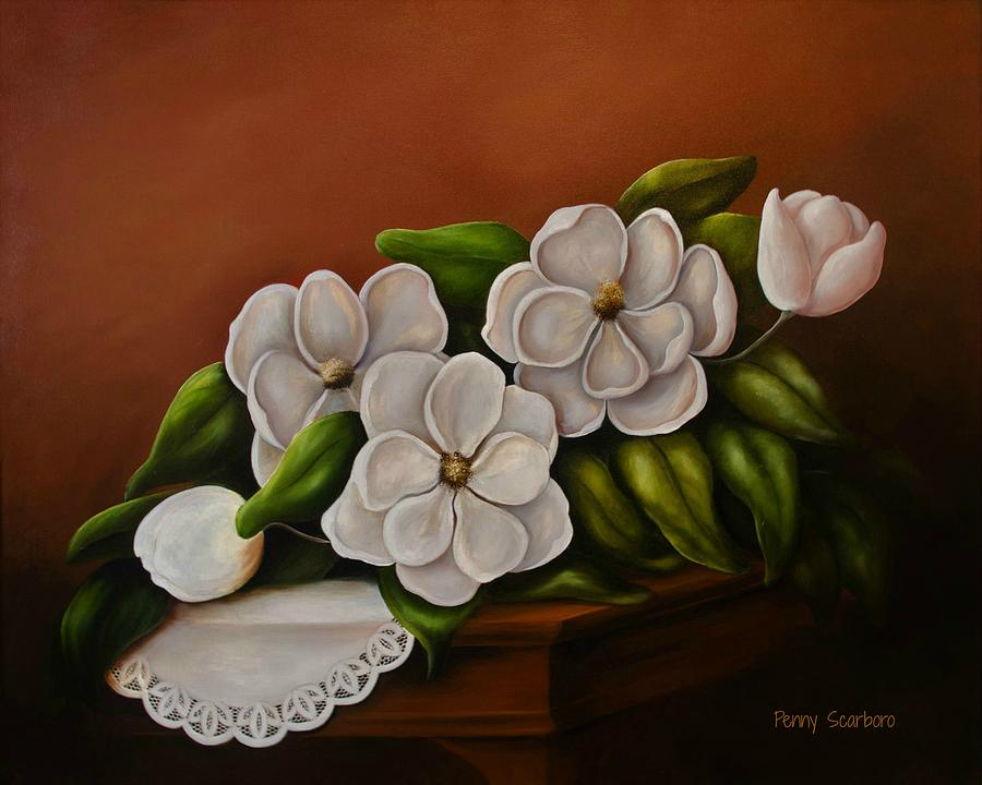 Magnolias Painting - Magnolias On A Table by Penny Scarboro