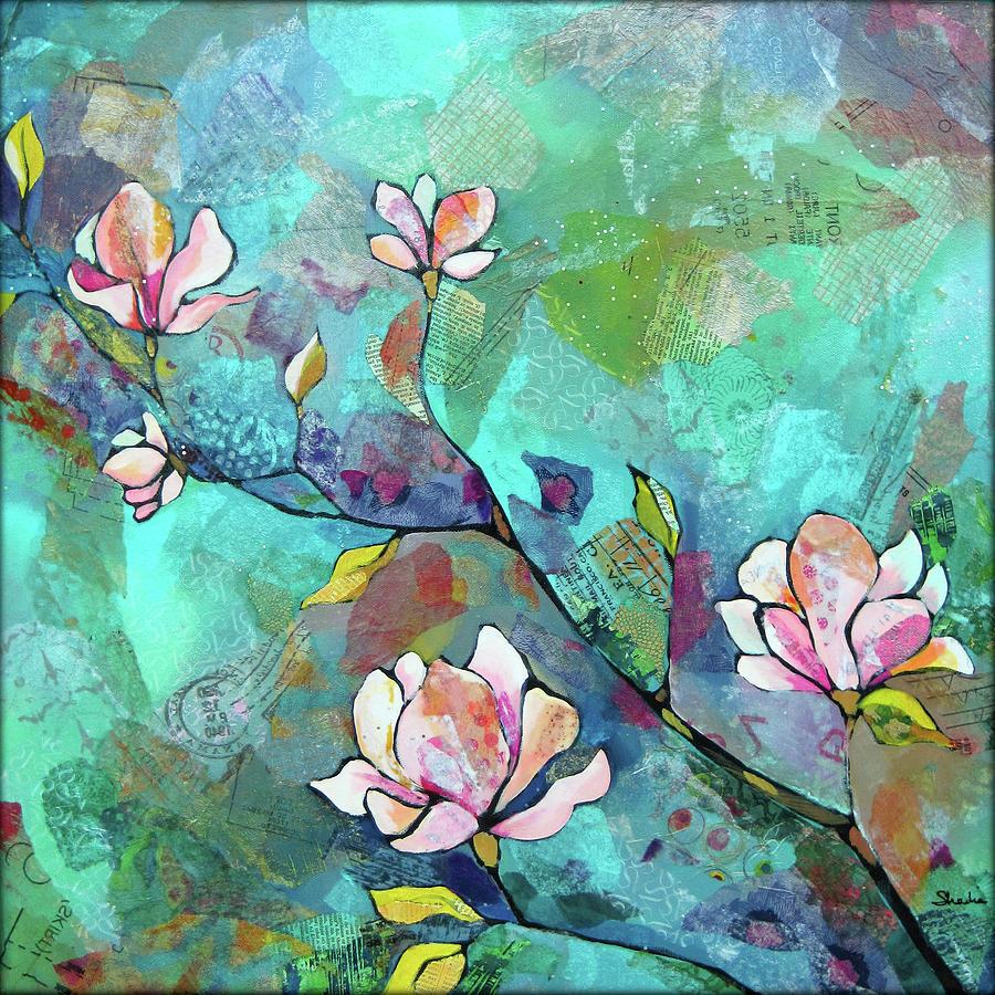 Magnolias Painting - Magnolias by Shadia Derbyshire