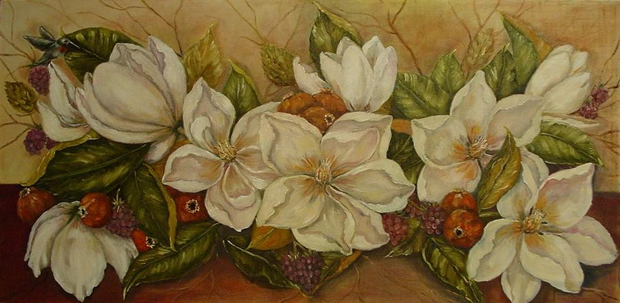 Magnolia Painting - Magnolias by Tresa Crain