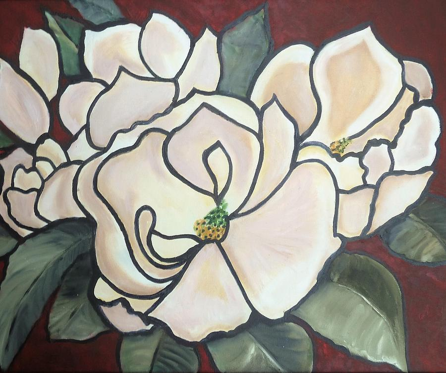 Flowers Painting - Magnolias Under Glass by Martha Mullins