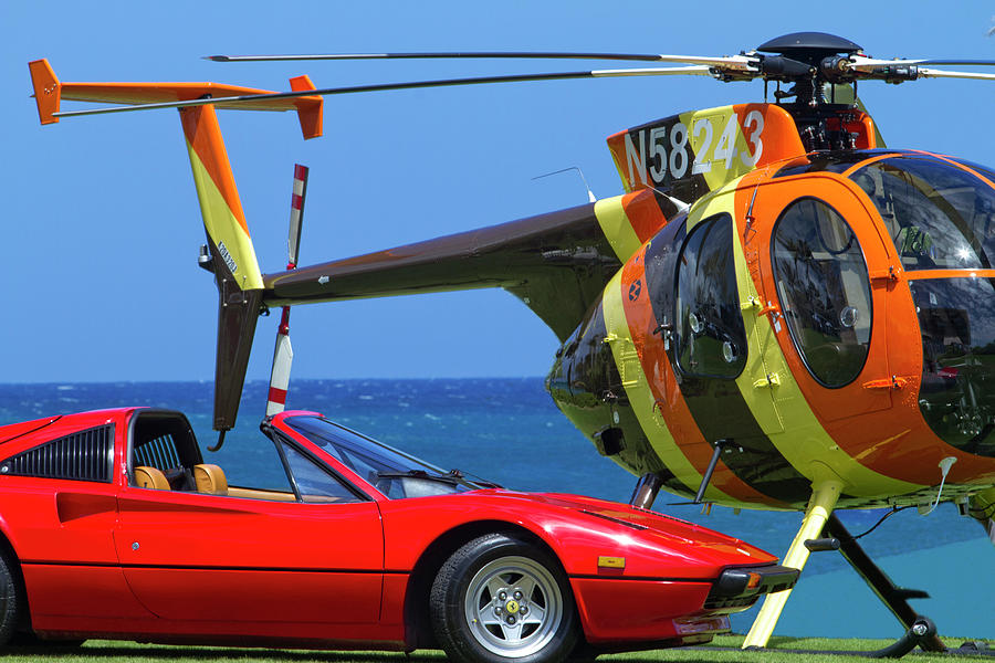 Magnum Helicopter And Ferrari Photograph By Sean Davey