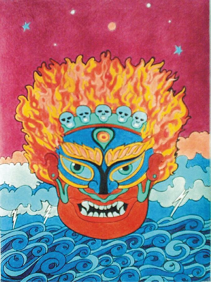 Mahakala Mixed Media - Mahakala Mask by Steven Donnini
