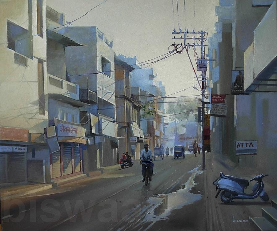 Early Morning Painting - Mahal by Bijay Biswaal