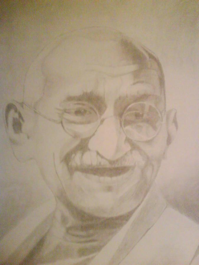 Famous Leader Drawing - Mahatma Gandhi by Milton  Gore