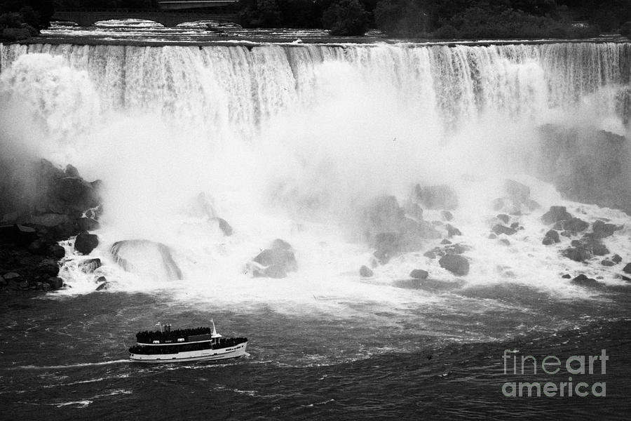 Niagara Falls Photograph - Maid Of The Mist Boat Below The American And Bridal Veil Falls Niagara Falls Ontario Canada by Joe Fox