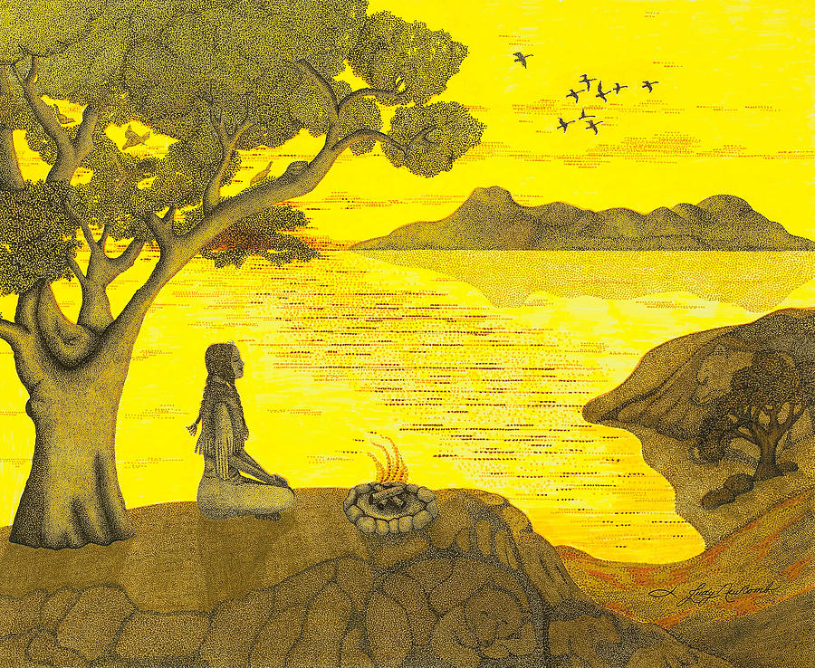Landscape Drawing - Maiden And The Mountains by Judy Cheryl Newcomb