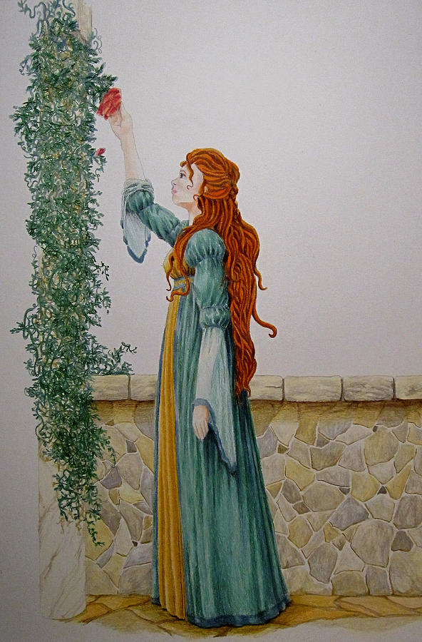 Renaissance Drawing - Maiden And The Rose by Theresa Higby