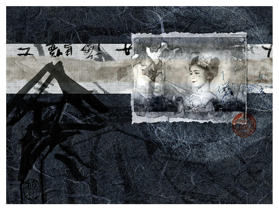 Maiko Mixed Media - Maiko On Blue by Carol Leigh