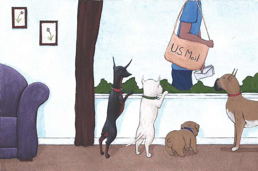 Dogs Painting - Mailman by Christy Beckwith