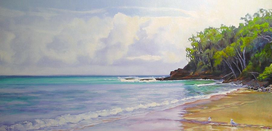 Seascape Painting - Main Beach Noosa Heads Queensland Australia by Chris Hobel