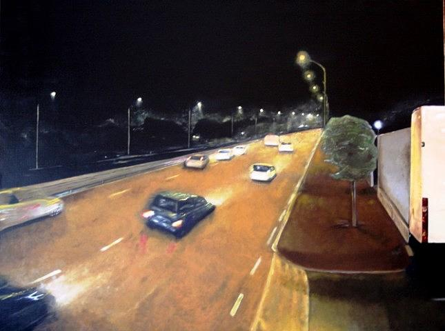 Modern Painting - Main Road at the night by Luca Rinaldi