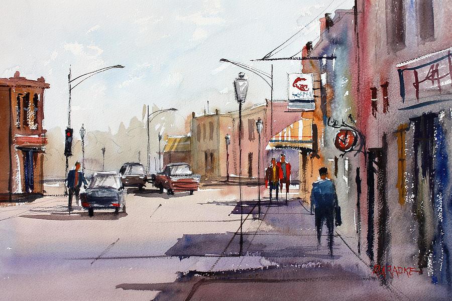 Street Scene Painting - Main Street - Wautoma by Ryan Radke
