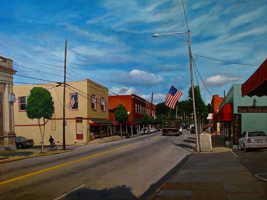 Clayton Painting - Main Street Clayton Nc by Doug Strickland
