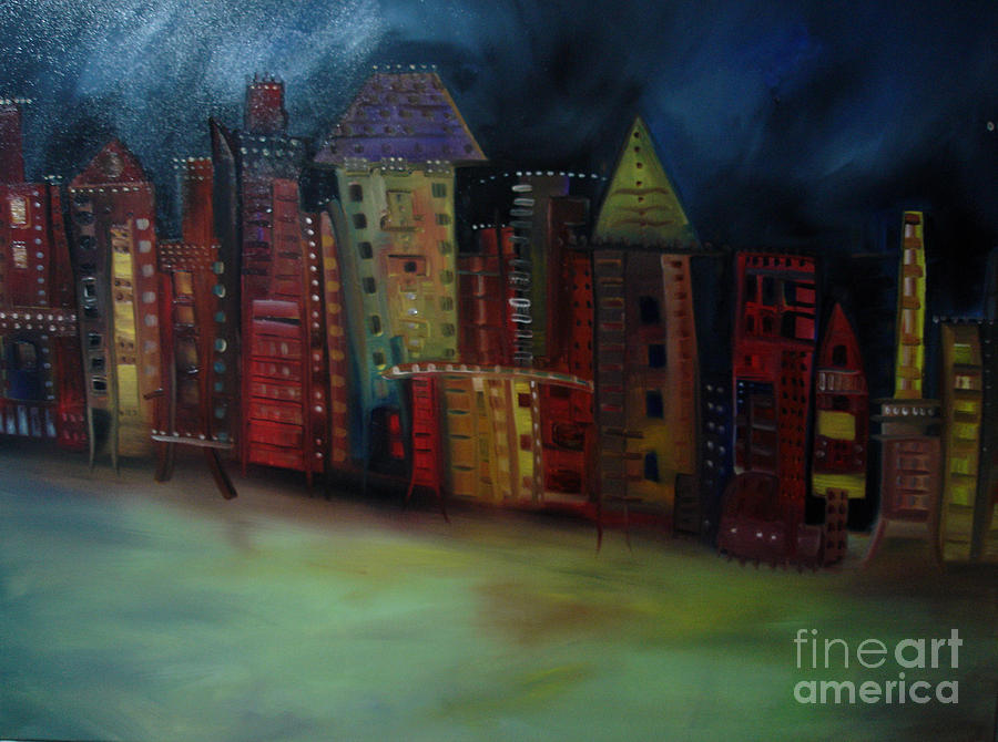 Abstract Cityscape Painting - Main Street by Maria Curcic