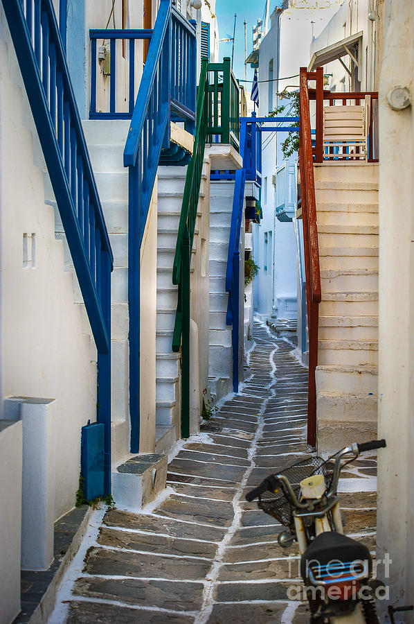 Mykonos Photograph - Main Street Mykonos by Ken Andersen
