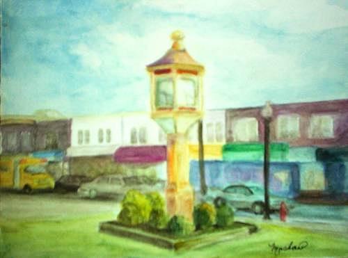 Clock Painting - Main Street by Sheila Mashaw