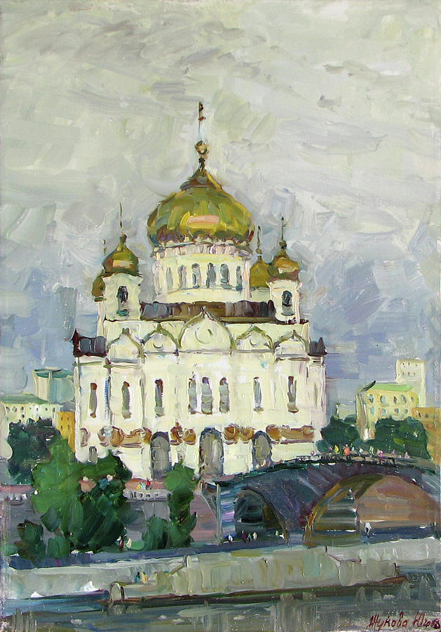 Temple Painting - Main Temple Of Russia by Juliya Zhukova