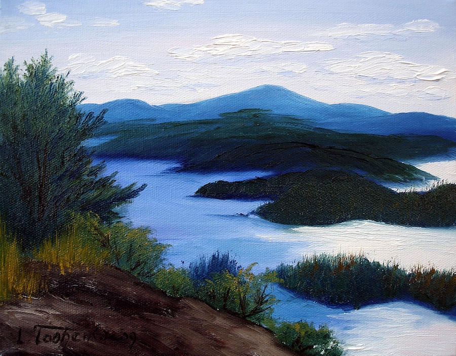 Maine Painting - Maine Bay Islands  by Laura Tasheiko