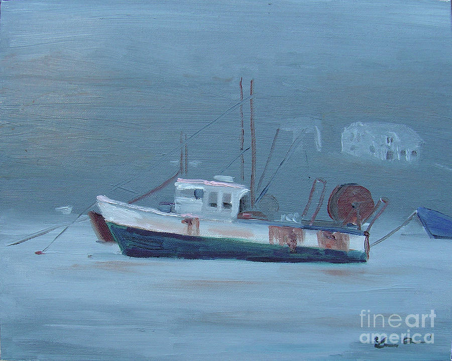 Fishing Painting - Maine Boat 2 by Lilibeth Andre