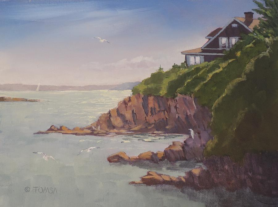 Acrylic Painting - Maine Coast Abode - Art By Bill Tomsa by Bill Tomsa