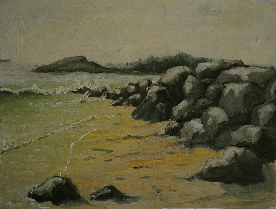 Seashore Painting - Maine Coast Usa by Chris  Riley