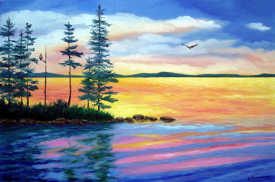 Maine Painting - Maine Evening Song by Laura Tasheiko