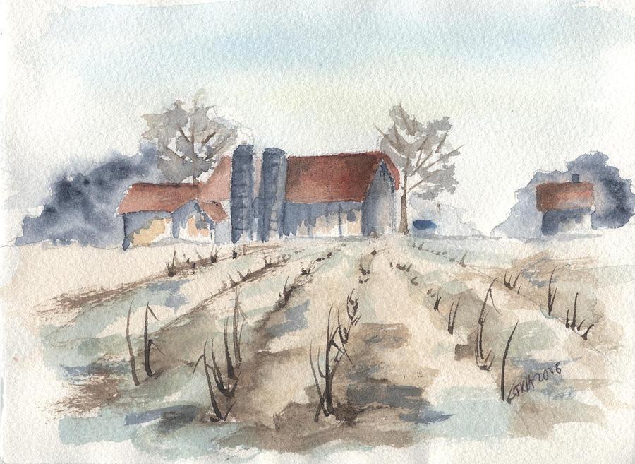 Farm Painting - Maine Farm by Jan Anderson