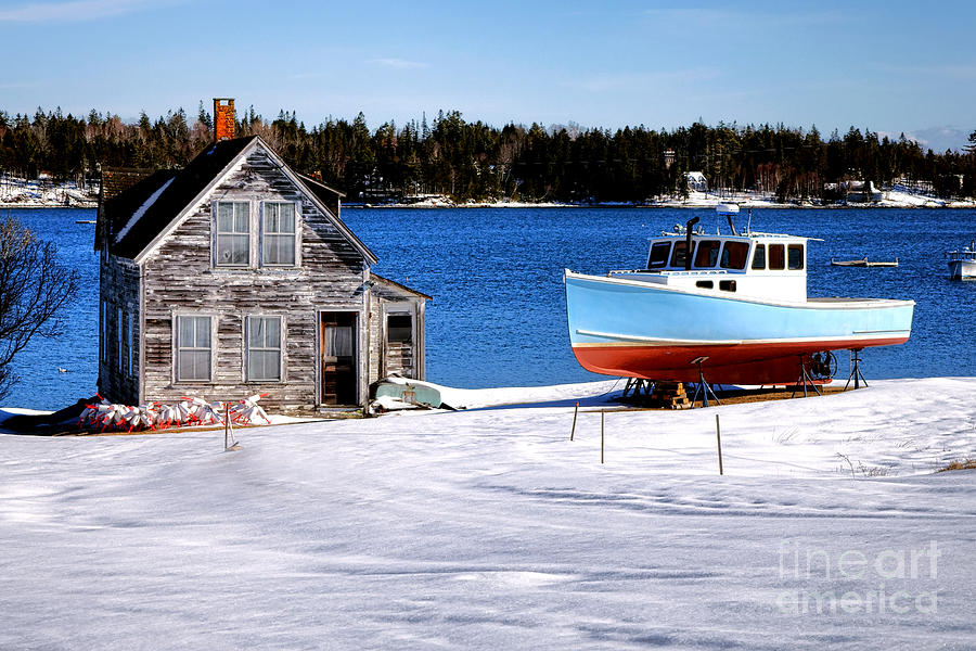 Maine Photograph - Maine Harbor Winter Scene by Olivier Le Queinec