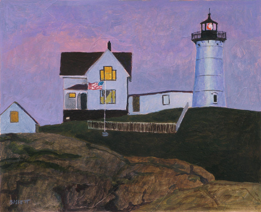 Maine Painting - Maine Lighthouse by Robert Bissett