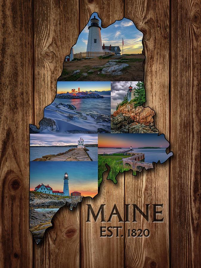 Maine Digital Art - Maine Lighthouses Collage by Rick Berk