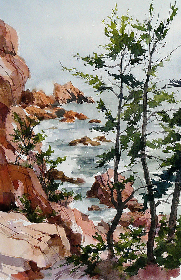 Maine Shoreline Painting by Art Scholz