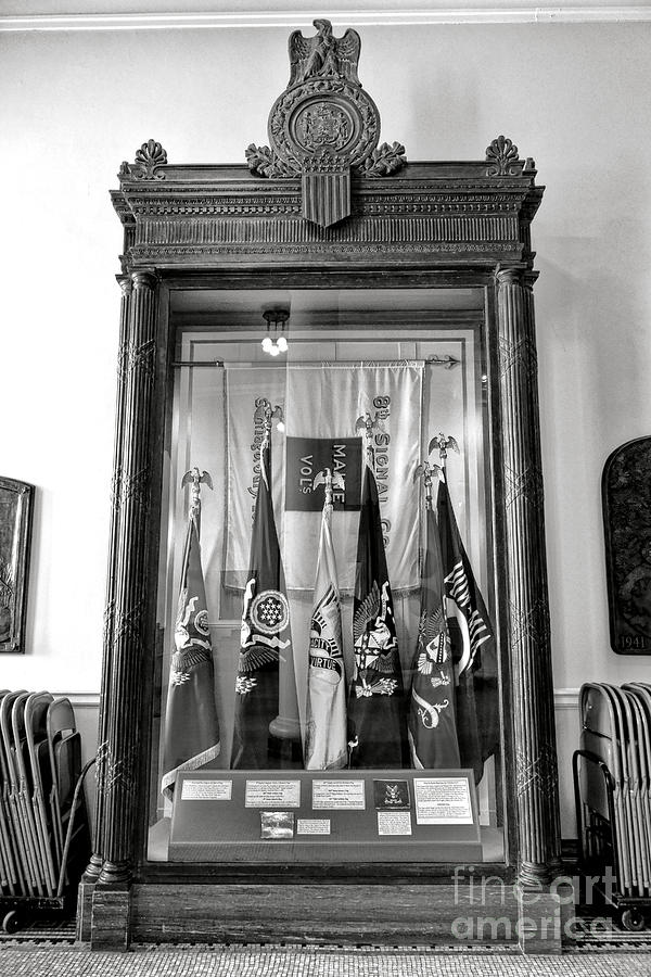 Maine Photograph - Maine State Capitol Hall Of Flags Modern Conflicts Display Case by Olivier Le Queinec