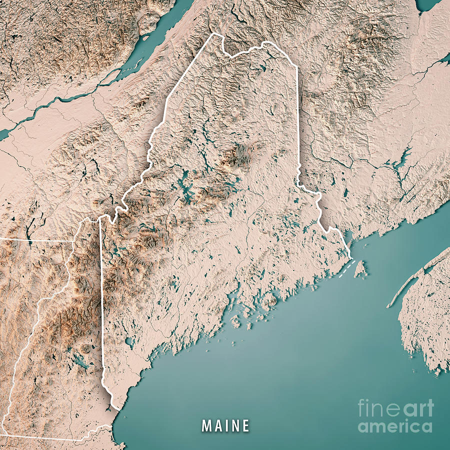 Maine Digital Art - Maine State USA 3D Render Topographic Map Neutral Border by Frank Ramspott