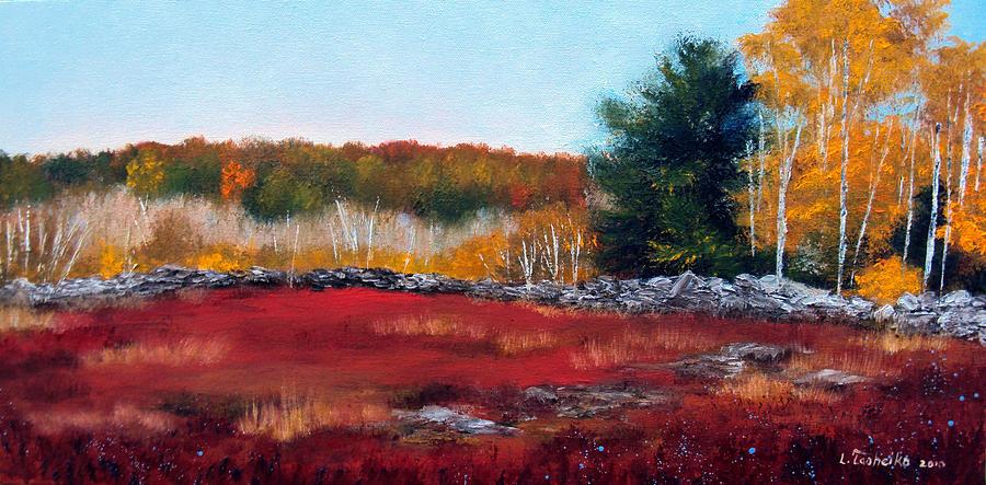 Fall Painting - Maine Wild Blueberries by Laura Tasheiko