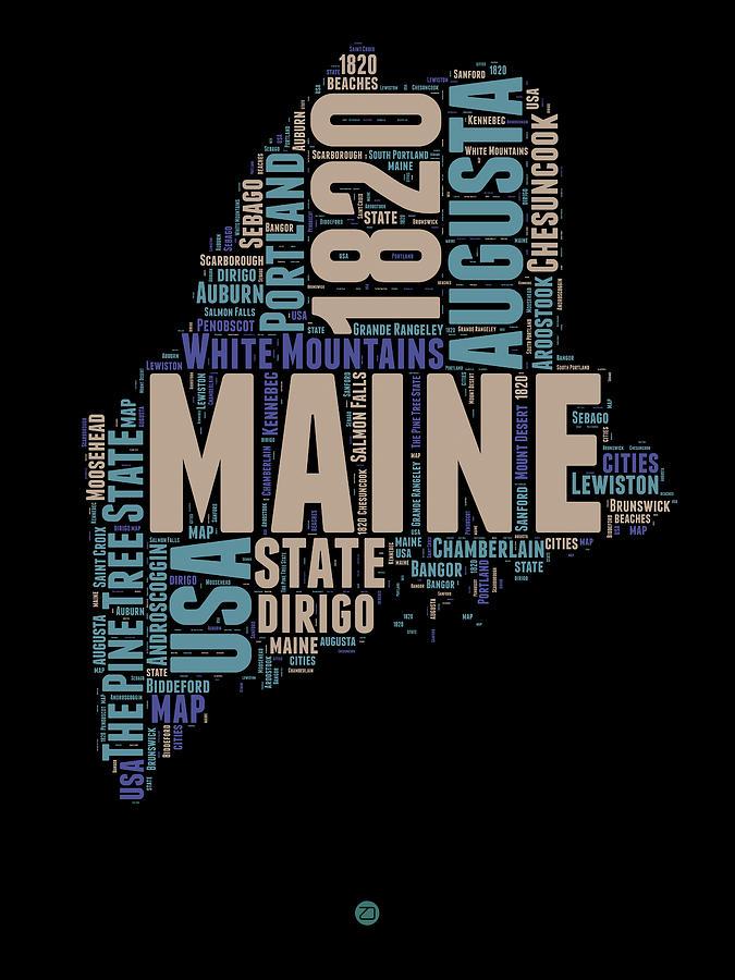 Maine Digital Art - Maine Word Cloud 1 by Naxart Studio