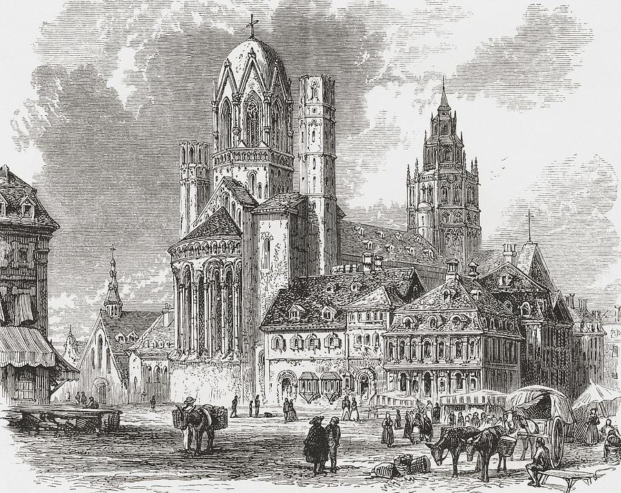 Desenul catedralei - Catedrala din Mainz, Aka St. Martin S de Vintage Design Pics