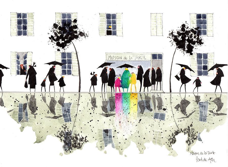 Black And White Painting - Maison De La Tarte by Paul De Ath