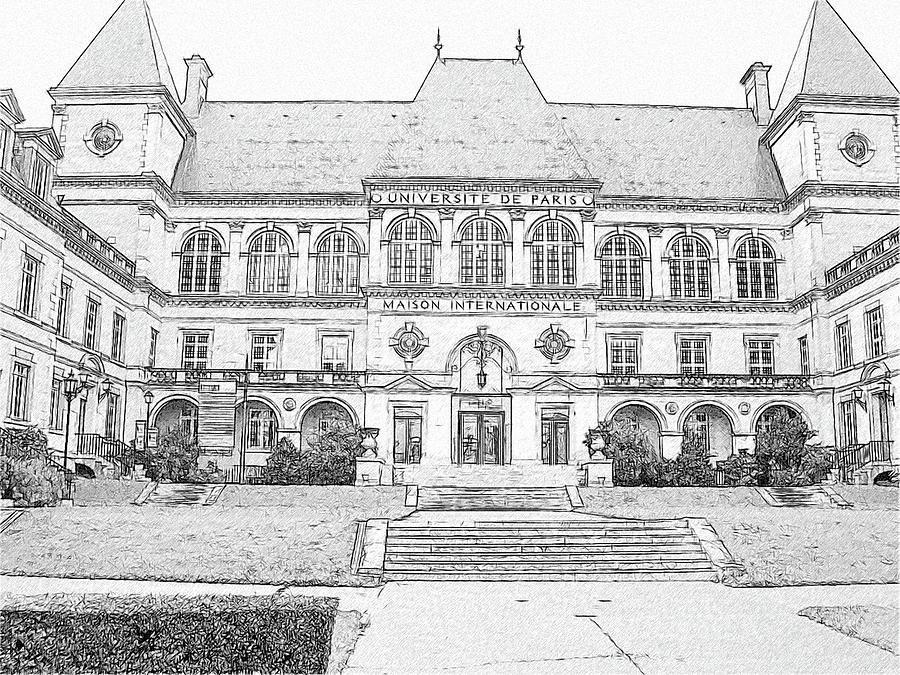 Architecture Building Drawing - Maison Internationale Paris by Subesh Gupta