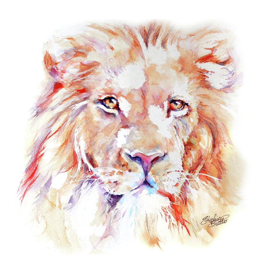 Africa Painting - Majestic African Lion by Stephie Butler