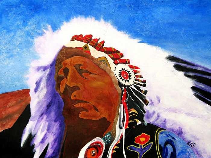 Native American Portrait Painting - Majestic Chief by Kitty Schwartz