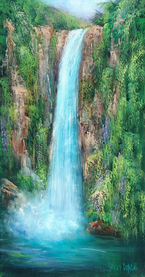 Waterfalls Painting - Majestic Falls by Sally Seago