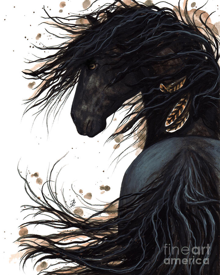 Majestic Horse Painting - Majestic Friesian 143 by AmyLyn Bihrle