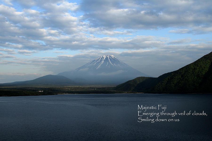 Japan Photograph - Majestic Fuji - Haiku by Leonard Sharp