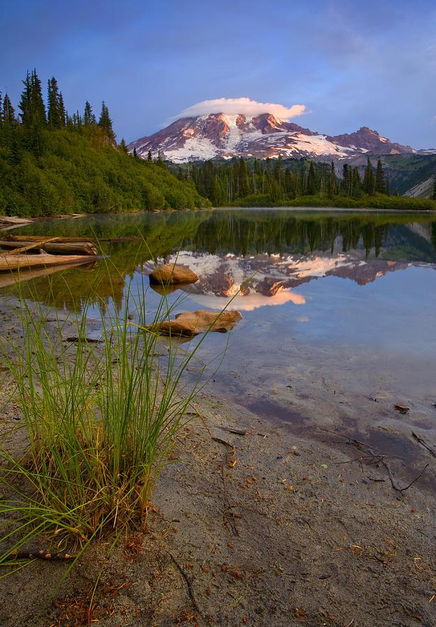 Mt. Rainier Photograph - Majestic Glow by Mike  Dawson