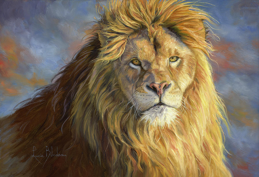 Lion Painting - Majestic King by Lucie Bilodeau