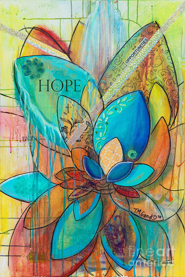 Lotus Painting - Spirit Lotus with Hope by TM Gand