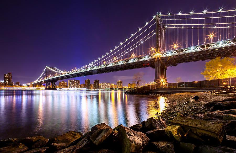 Manhattan Bridge Photograph - Majestic Manhattan by Az Jackson
