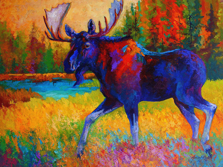 Moose Painting - Majestic Monarch - Moose by Marion Rose
