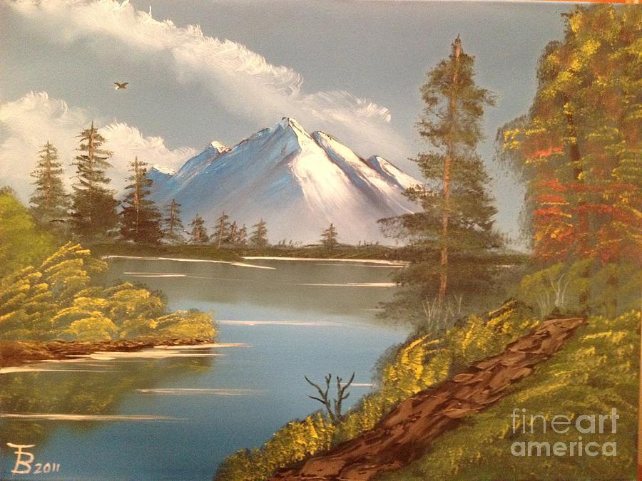 Original Painting - Majestic Mountain Lake by Tim Blankenship